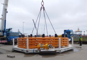 6 inch flexible TCP Jumper on subsea pallet ready for deployment in deepwater offshore Nigeria