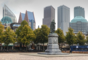 Cityscape of The Hague viewed from Het Plein The Square